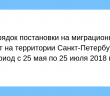 [:ru]Порядок постановки на миграционный учет на территории Санкт-Петербурга в период с 25 мая по 25 июля 2018 года.[:]