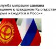 Госслужба миграции сделала обращение к гражданам Кыргызстана, которые находятся в России.