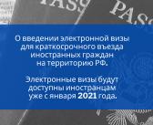 Единая электронная виза для въезда иностранных граждан в РФ с 1 января 2021 – принят новый законопроект.